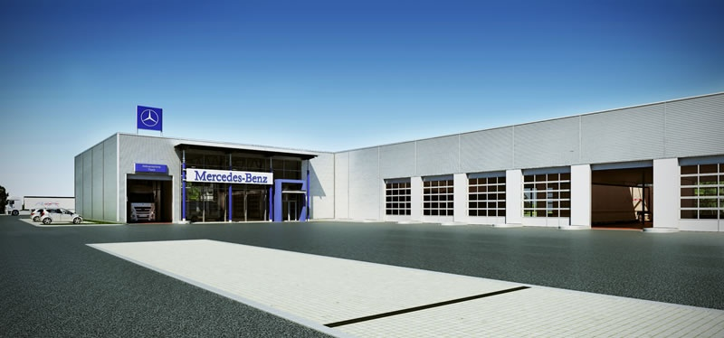 Geisend rfer daimler nfz muster autohaus for Architektur werkstatt